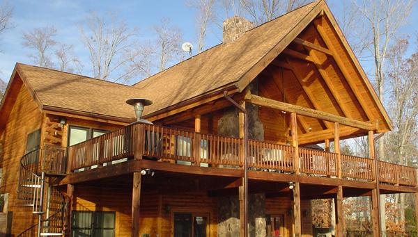 Front royal deck restoration log home restoration in for Log home decks